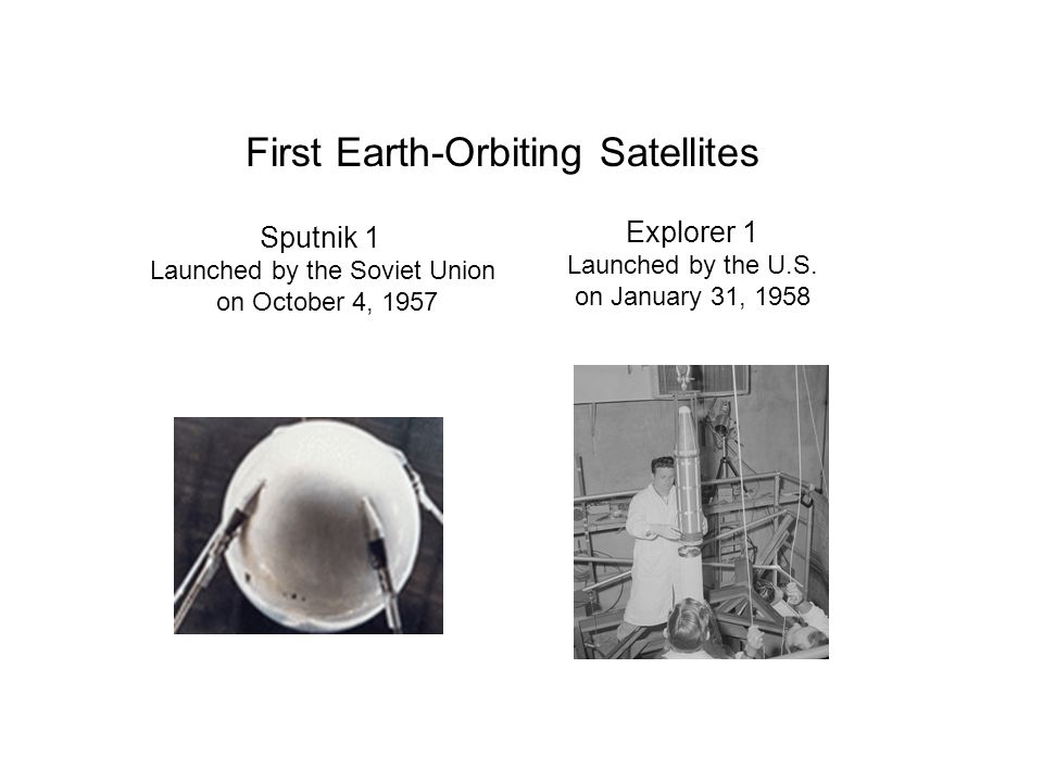 Sputnik 1 Launched by the Soviet Union on October 4, 1957 First Earth-Orbiting Satellites Explorer 1 Launched by the U.S. on January 31, 1958