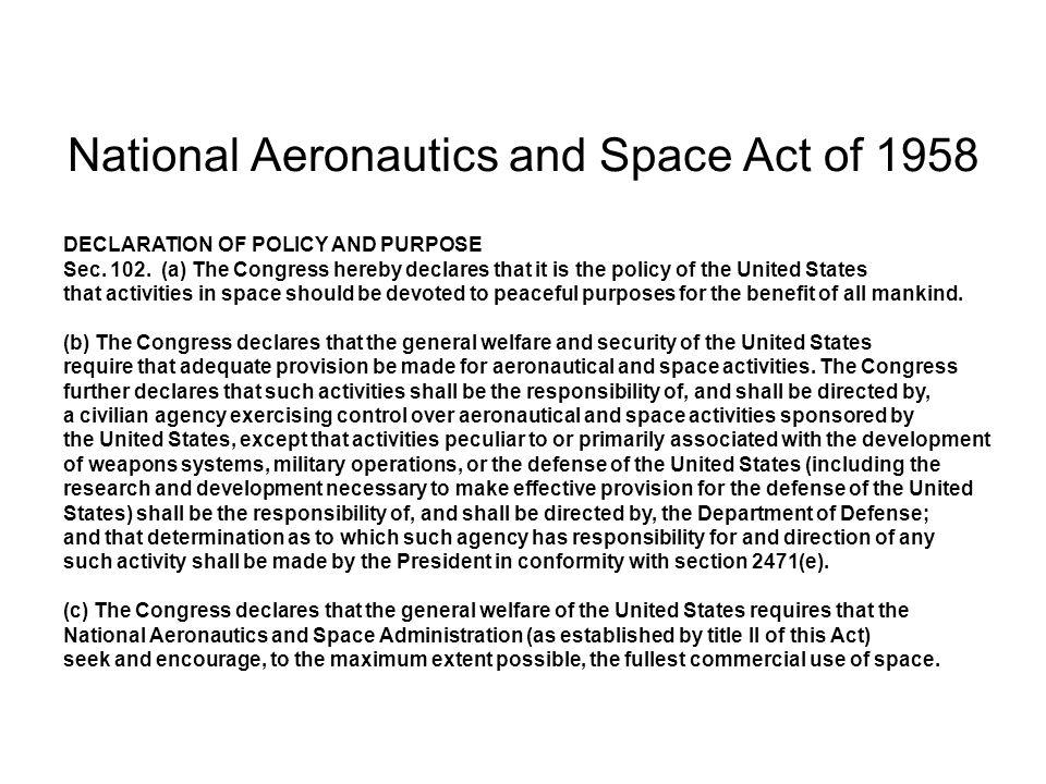 National Aeronautics and Space Administration Kennedy Space Center, Florida Johnson Space Center, Houston Marshall Space Flight Center, Alabama Goddard Space Flight Center, Maryland