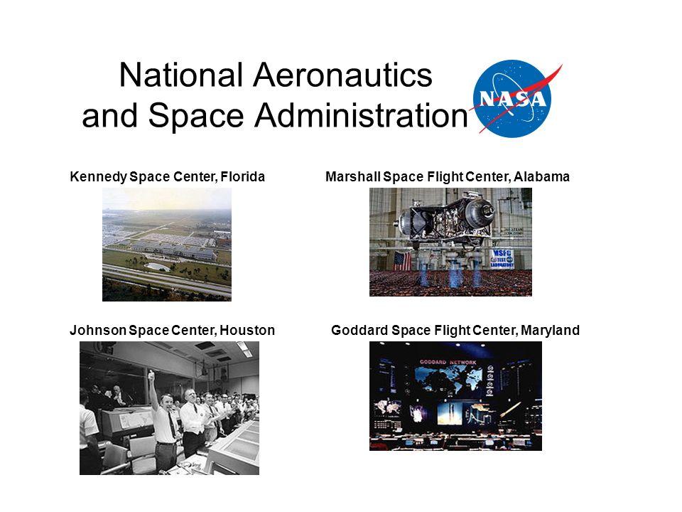 National Aeronautics and Space Administration Kennedy Space Center, Florida Johnson Space Center, Houston Marshall Space Flight Center, Alabama Goddar