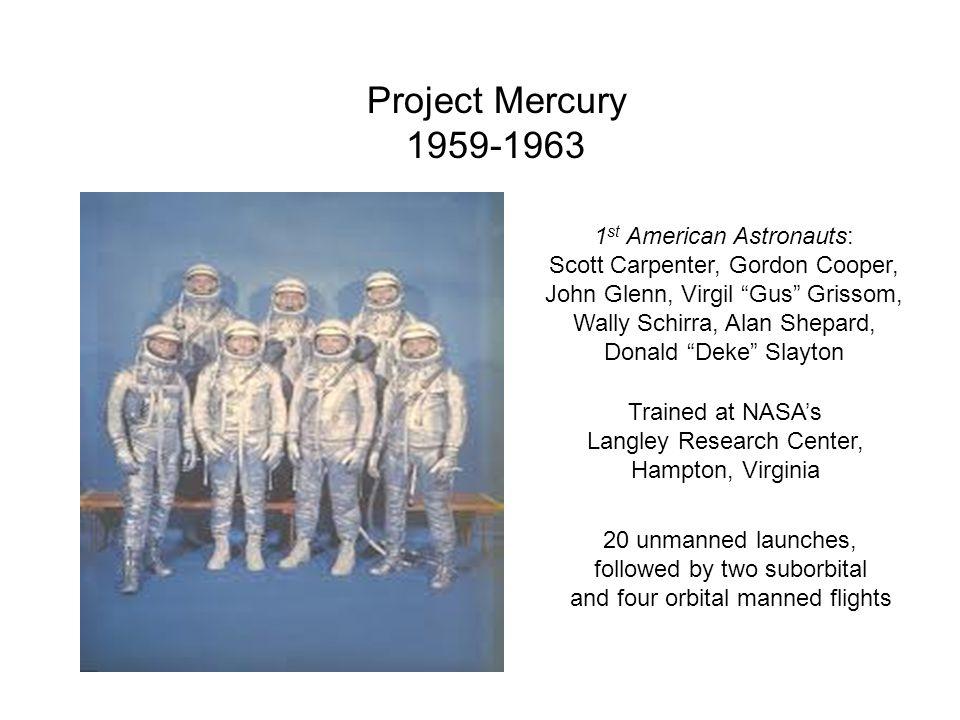 Project Mercury 1959-1963 1 st American Astronauts: Scott Carpenter, Gordon Cooper, John Glenn, Virgil Gus Grissom, Wally Schirra, Alan Shepard, Donal