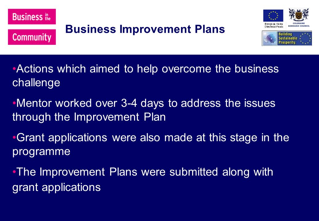 Business Improvement Plans Actions which aimed to help overcome the business challenge Mentor worked over 3-4 days to address the issues through the Improvement Plan Grant applications were also made at this stage in the programme The Improvement Plans were submitted along with grant applications