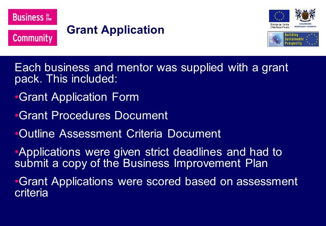 Grant Application Each business and mentor was supplied with a grant pack.