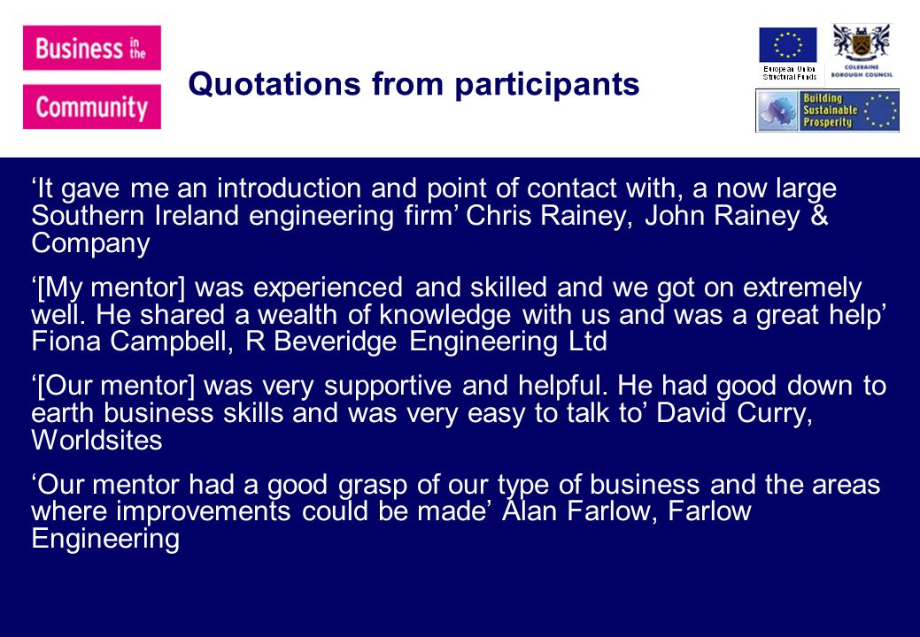 Quotations from participants It gave me an introduction and point of contact with, a now large Southern Ireland engineering firm Chris Rainey, John Rainey & Company [My mentor] was experienced and skilled and we got on extremely well.
