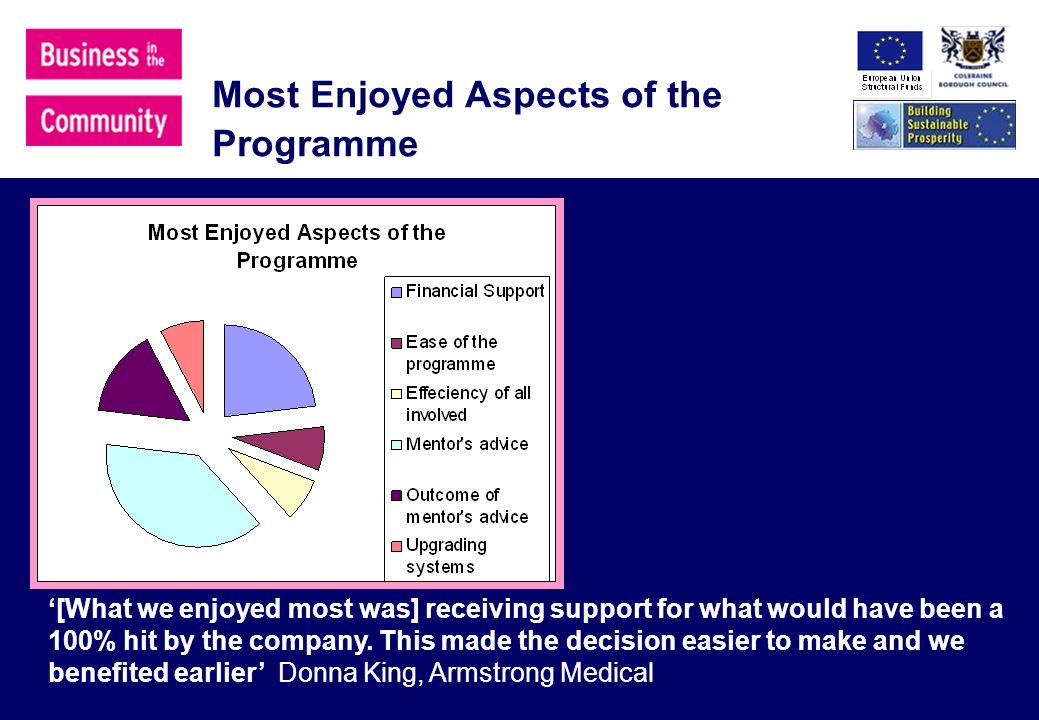 Most Enjoyed Aspects of the Programme [What we enjoyed most was] receiving support for what would have been a 100% hit by the company.