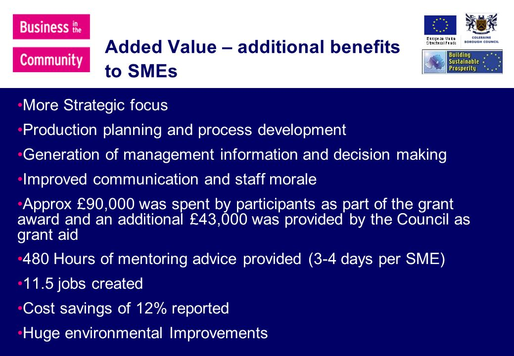 Added Value – additional benefits to SMEs More Strategic focus Production planning and process development Generation of management information and decision making Improved communication and staff morale Approx £90,000 was spent by participants as part of the grant award and an additional £43,000 was provided by the Council as grant aid 480 Hours of mentoring advice provided (3-4 days per SME) 11.5 jobs created Cost savings of 12% reported Huge environmental Improvements