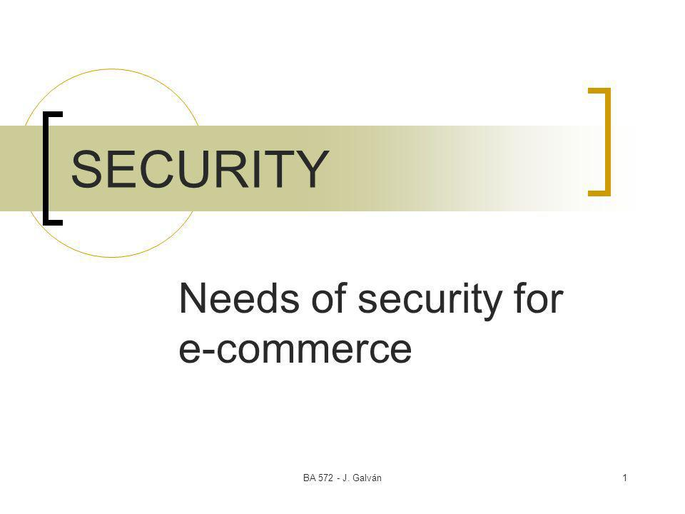 BA 572 - J. Galván1 SECURITY Needs of security for e-commerce