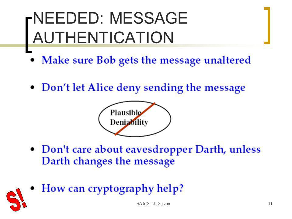 BA 572 - J. Galván11 NEEDED: MESSAGE AUTHENTICATION