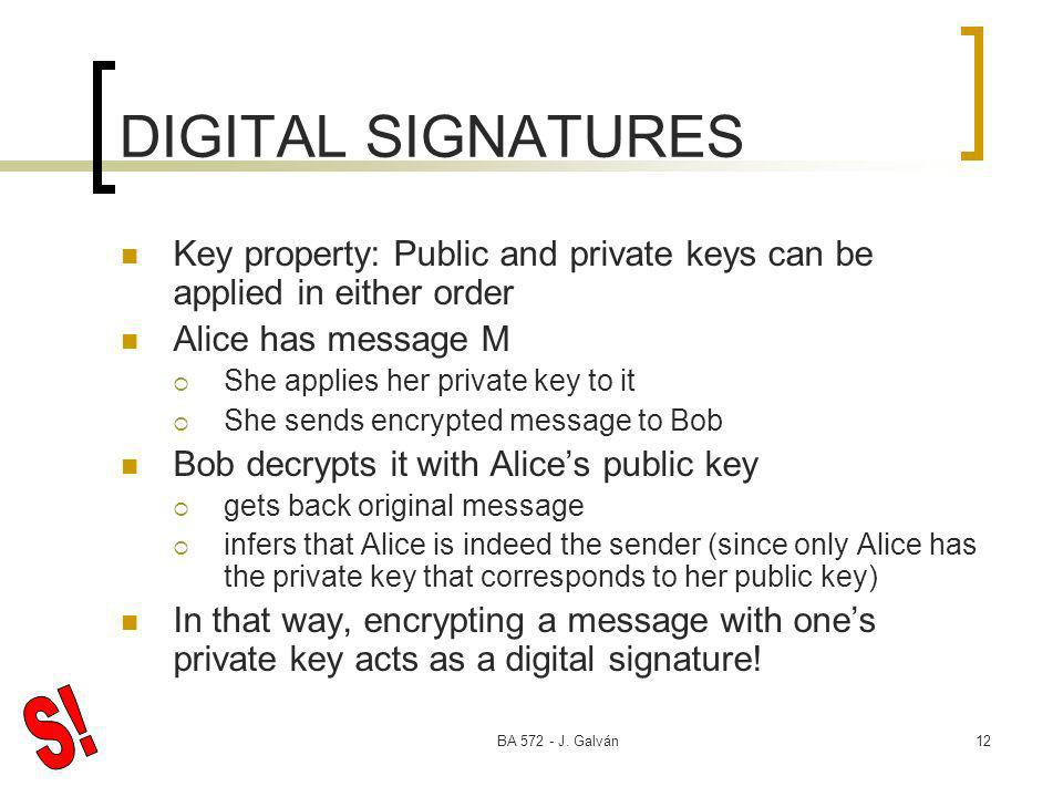 BA 572 - J. Galván12 DIGITAL SIGNATURES Key property: Public and private keys can be applied in either order Alice has message M She applies her priva