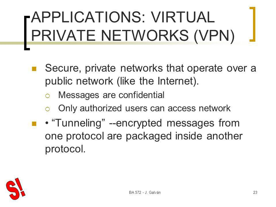 BA 572 - J. Galván23 APPLICATIONS: VIRTUAL PRIVATE NETWORKS (VPN) Secure, private networks that operate over a public network (like the Internet). Mes