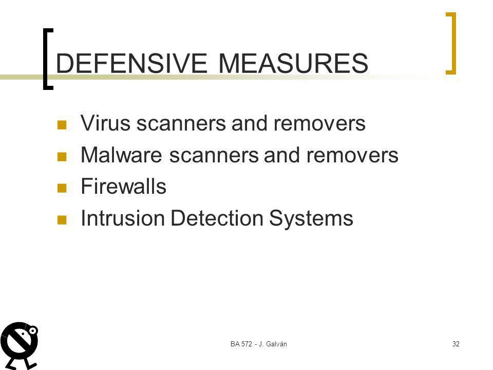 BA 572 - J. Galván32 DEFENSIVE MEASURES Virus scanners and removers Malware scanners and removers Firewalls Intrusion Detection Systems