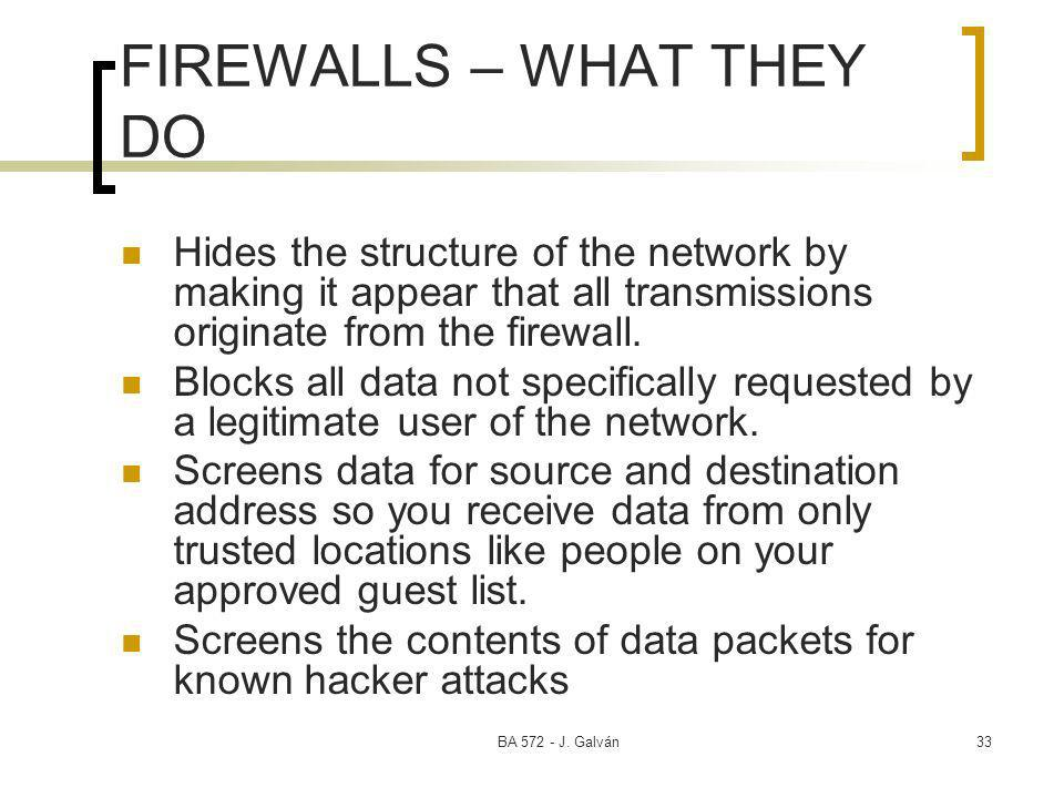 BA 572 - J. Galván33 FIREWALLS – WHAT THEY DO Hides the structure of the network by making it appear that all transmissions originate from the firewal