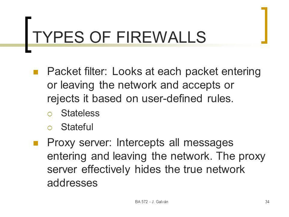 BA 572 - J. Galván34 TYPES OF FIREWALLS Packet filter: Looks at each packet entering or leaving the network and accepts or rejects it based on user-de