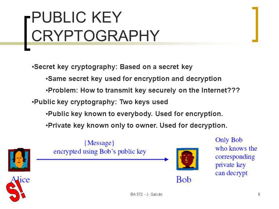 BA 572 - J. Galván8 PUBLIC KEY CRYPTOGRAPHY Secret key cryptography: Based on a secret key Same secret key used for encryption and decryption Problem: