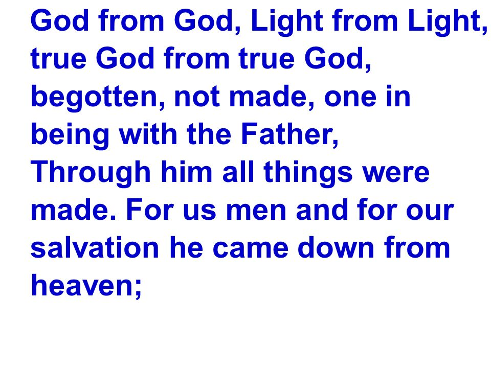 God from God, Light from Light, true God from true God, begotten, not made, one in being with the Father, Through him all things were made. For us men