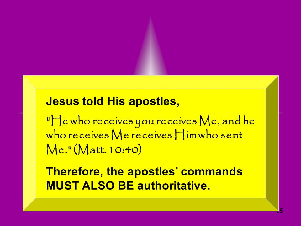 35 Since Jesus has all authority, His commands MUST BE authoritative. Jesus told His apostles,