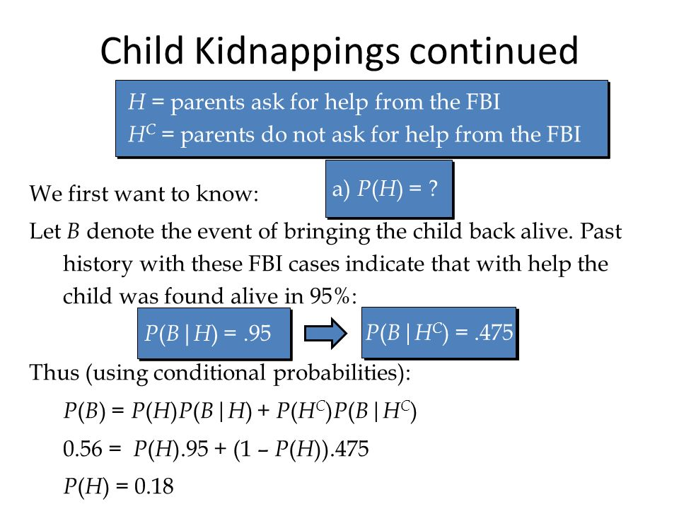 Child Kidnappings continued We first want to know: Let B denote the event of bringing the child back alive. Past history with these FBI cases indicate