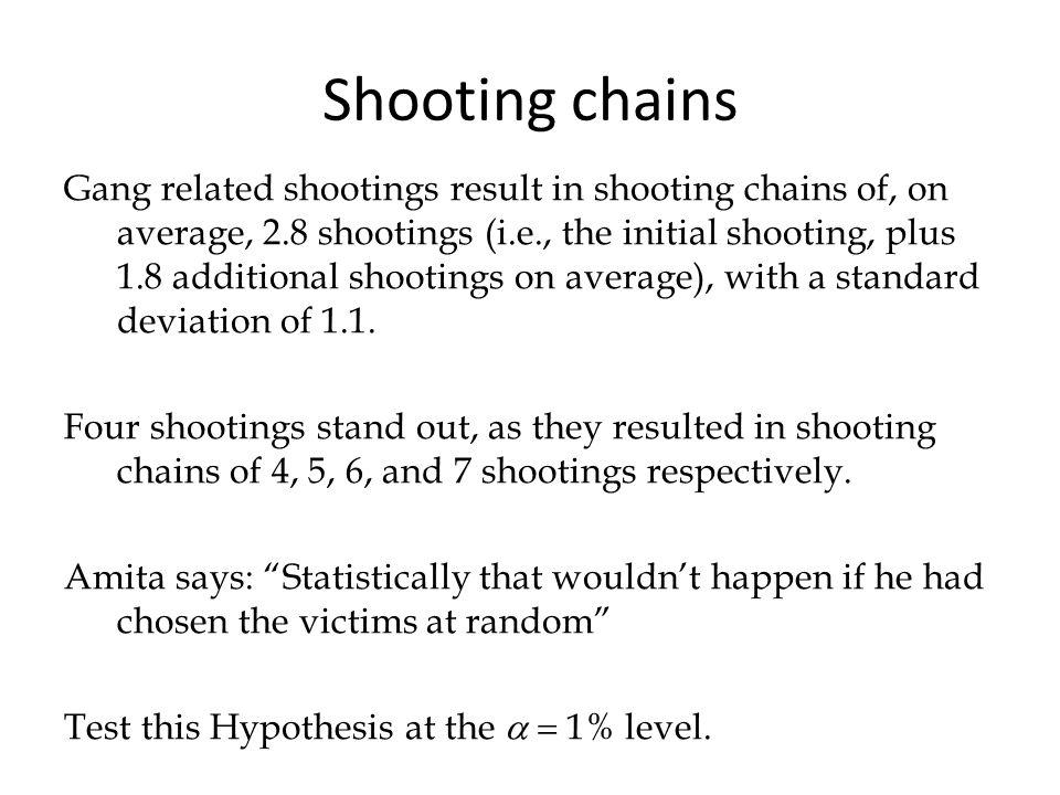 Shooting chains Gang related shootings result in shooting chains of, on average, 2.8 shootings (i.e., the initial shooting, plus 1.8 additional shooti