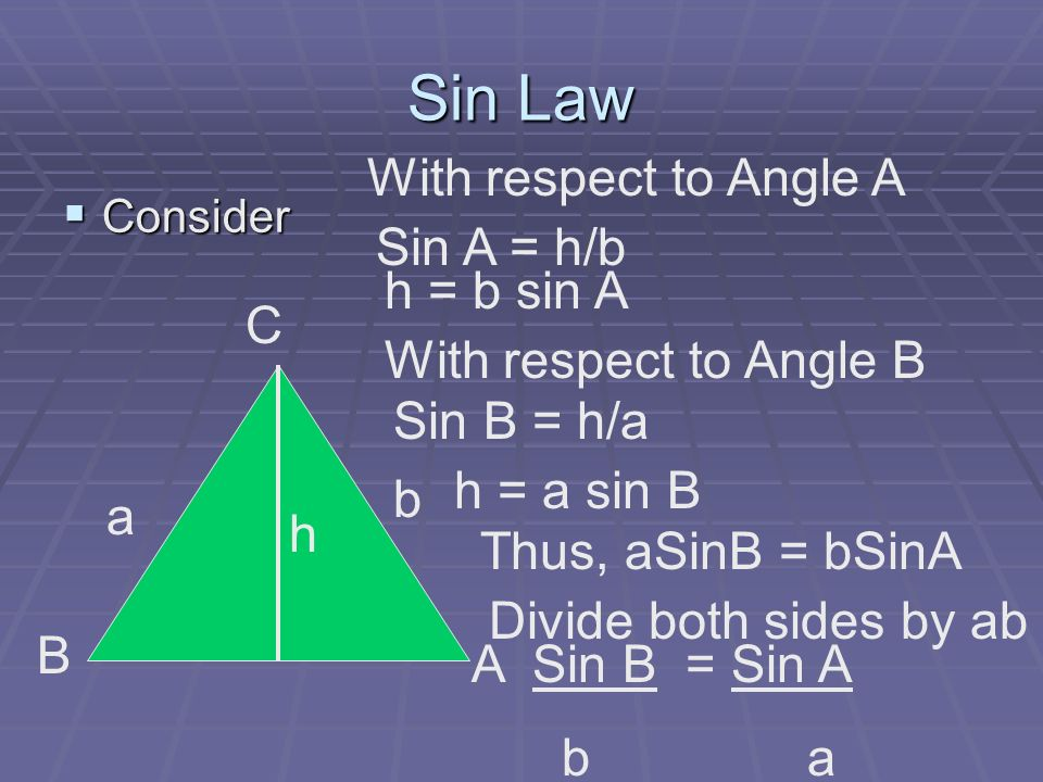 Sin Law Consider Consider C B A a b h With respect to Angle A Sin A = h/b h = b sin A With respect to Angle B Sin B = h/a h = a sin B Thus, aSinB = bS