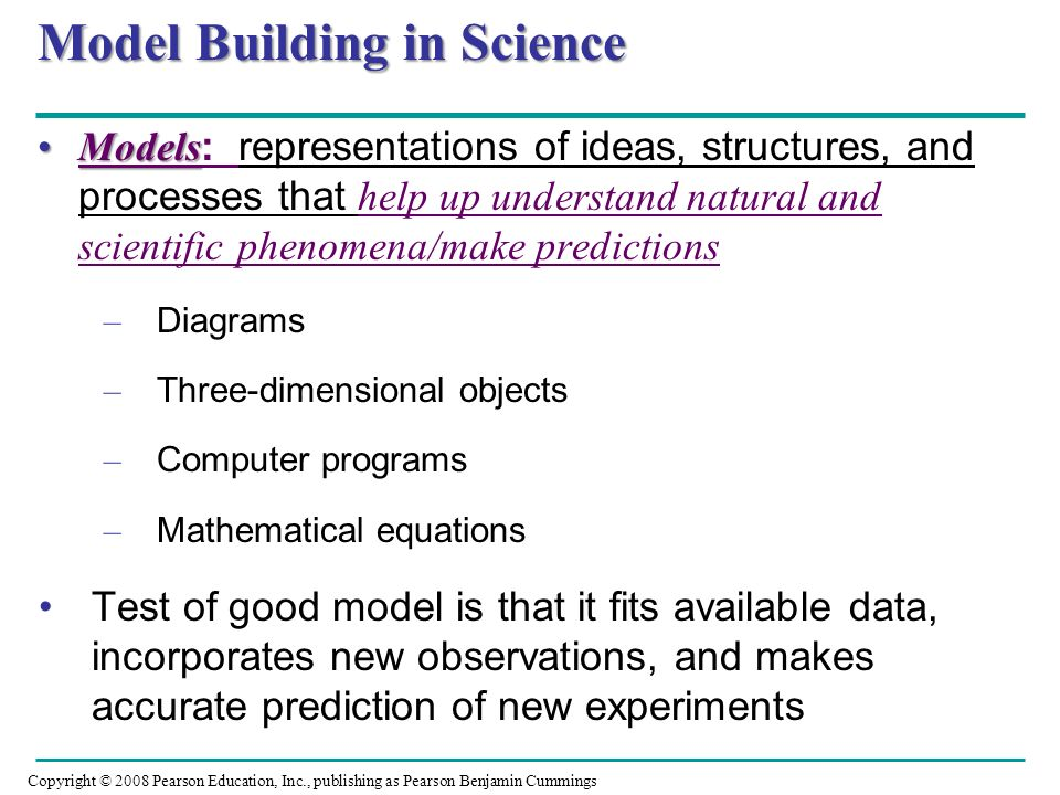 Model Building in Science ModelsModels : representations of ideas, structures, and processes that help up understand natural and scientific phenomena/