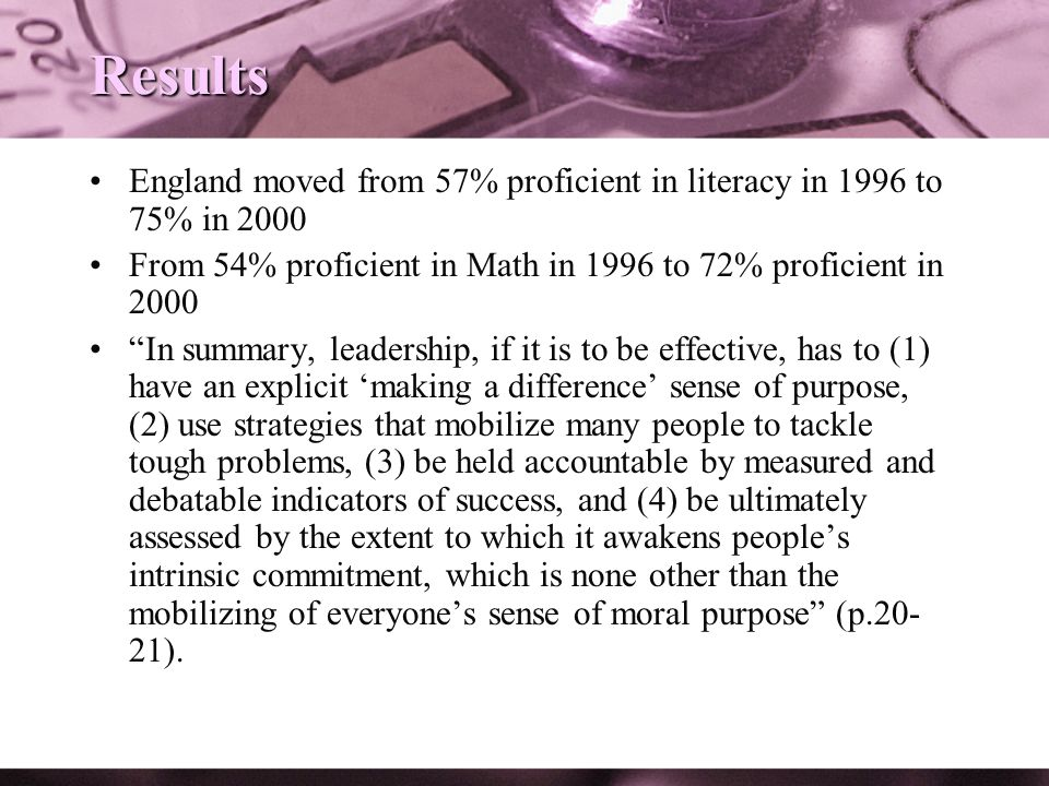Results England moved from 57% proficient in literacy in 1996 to 75% in 2000 From 54% proficient in Math in 1996 to 72% proficient in 2000 In summary,