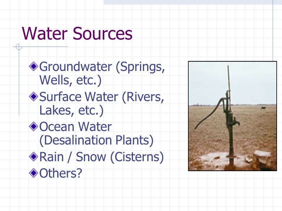 Water Sources Groundwater (Springs, Wells, etc.) Surface Water (Rivers, Lakes, etc.) Ocean Water (Desalination Plants) Rain / Snow (Cisterns) Others