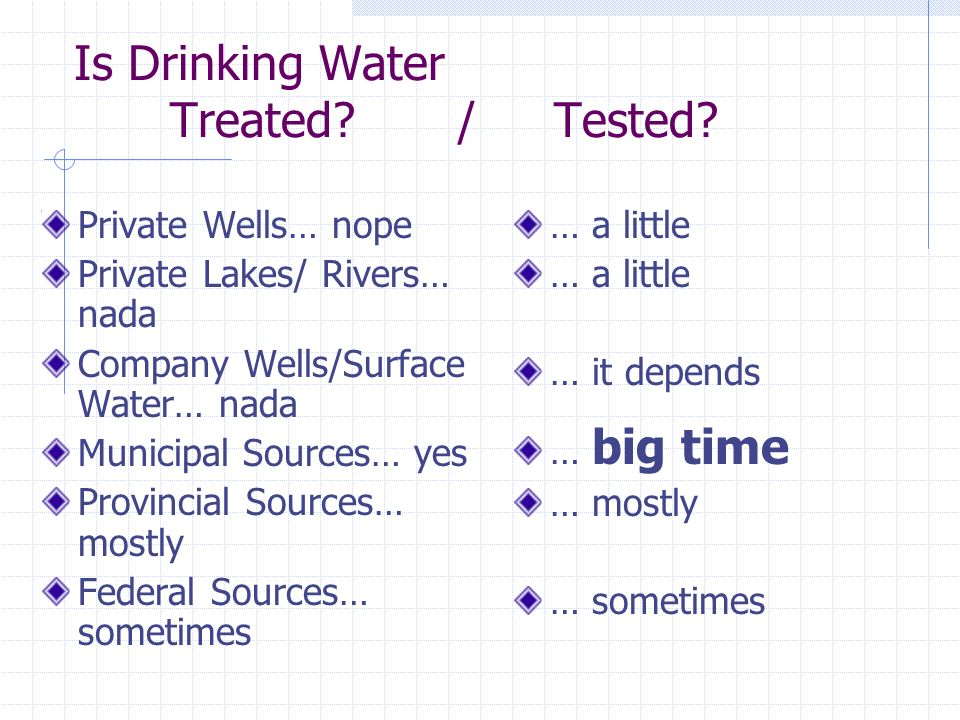 Is Drinking Water Treated. / Tested.