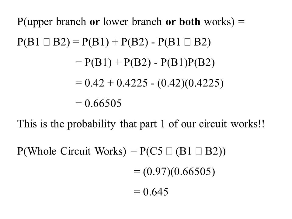 P(upper branch or lower branch or both works) = P(B1 B2) = P(B1) + P(B2) - P(B1 B2) = P(B1) + P(B2) - P(B1)P(B2) = 0.42 + 0.4225 - (0.42)(0.4225) = 0.66505 This is the probability that part 1 of our circuit works!.