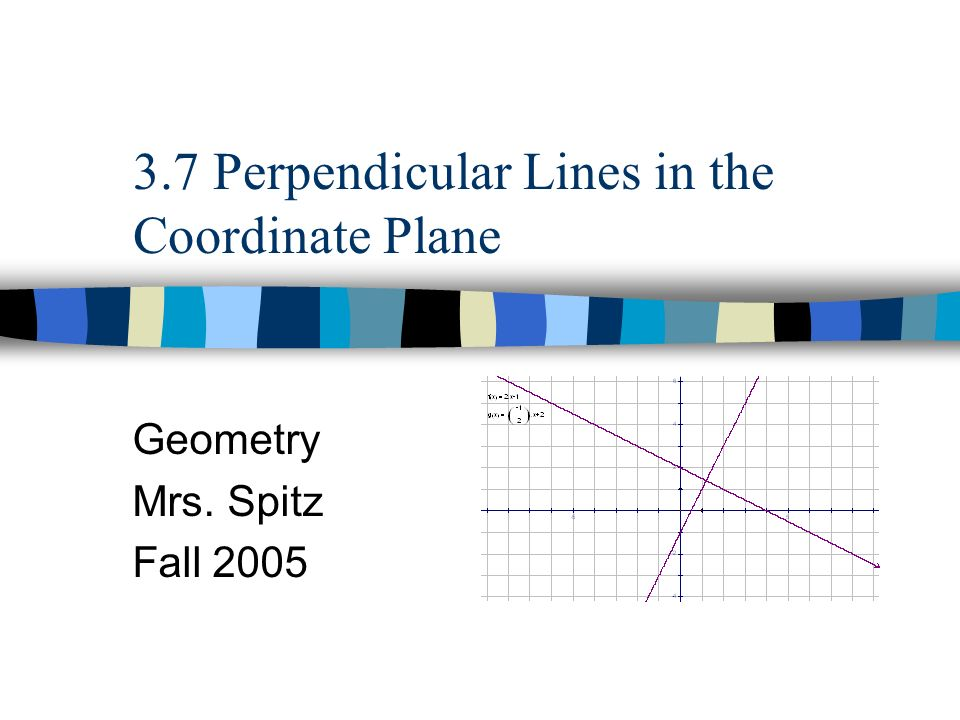 3.7 Perpendicular Lines in the Coordinate Plane Geometry Mrs. Spitz Fall 2005