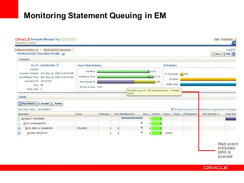 Monitoring Statement Queuing in EM Wait event indicates stmt is queued
