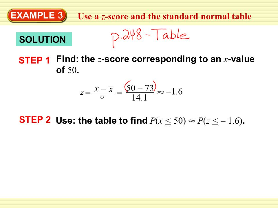 EXAMPLE 3 Use a z-score and the standard normal table SOLUTION STEP 1 Find: the z -score corresponding to an x -value of 50.