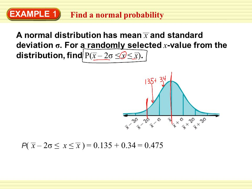 EXAMPLE 1 Find a normal probability P ( – 2σ x )xx A normal distribution has mean x and standard deviation σ.