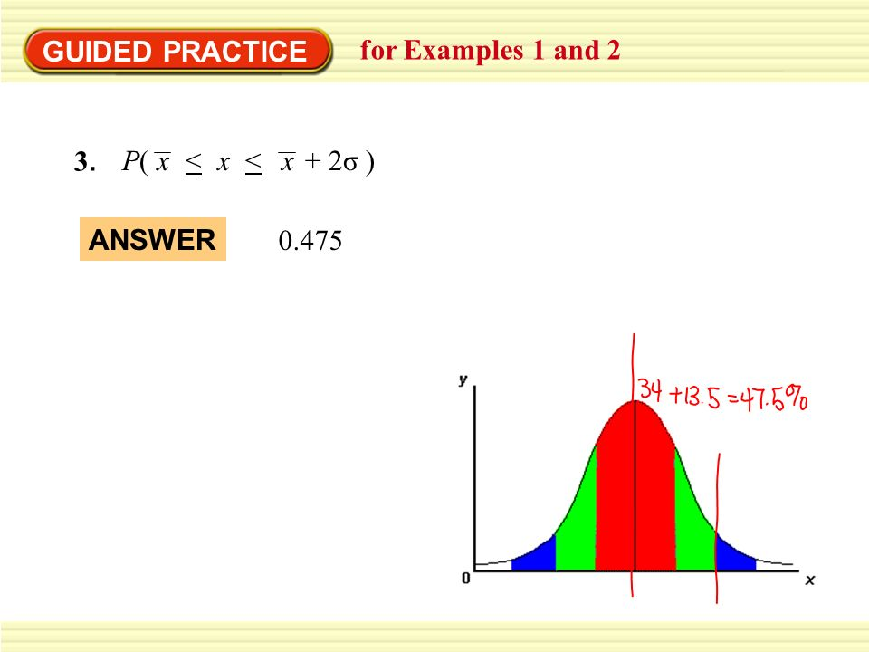 GUIDED PRACTICE for Examples 1 and 2 3.3. P( < < + 2σ )xxx 0.475 ANSWER