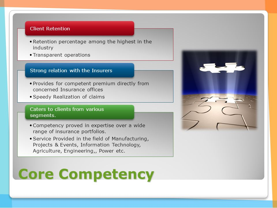 Core Competency Retention percentage among the highest in the industry Transparent operations Client Retention Provides for competent premium directly from concerned Insurance offices Speedy Realization of claims Strong relation with the Insurers Competency proved in expertise over a wide range of insurance portfolios.