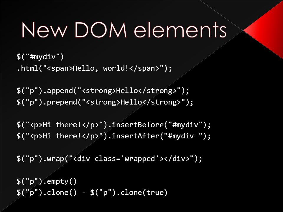 $( #mydiv ).html( Hello, world.