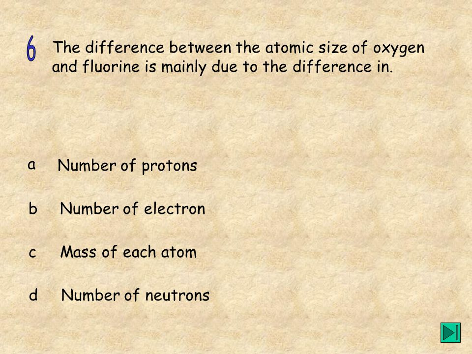 The difference between the atomic size of oxygen and fluorine is mainly due to the difference in. a b c d Number of protons Number of electron Mass of