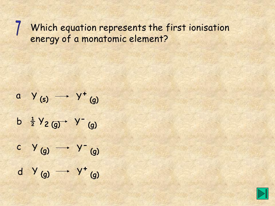 Which equation represents the first ionisation energy of a monatomic element? a b c d Y (s) Y + (g) ½ Y 2 (g) Y - (g) Y (g) Y - (g) Y (g) Y + (g)
