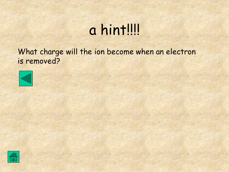 a hint!!!! What charge will the ion become when an electron is removed?