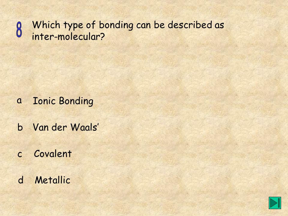 Which type of bonding can be described as inter-molecular? a b c d Ionic Bonding Van der Waals Covalent Metallic
