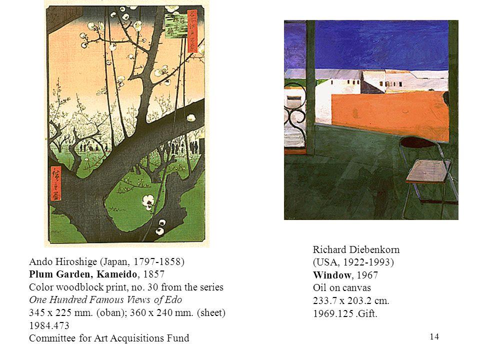 14 Richard Diebenkorn (USA, 1922-1993) Window, 1967 Oil on canvas 233.7 x 203.2 cm.