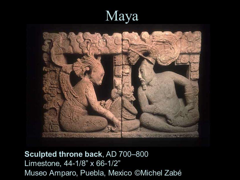 26 Maya Sculpted throne back, AD 700–800 Limestone, 44-1/8 x 66-1/2 Museo Amparo, Puebla, Mexico ©Michel Zabé