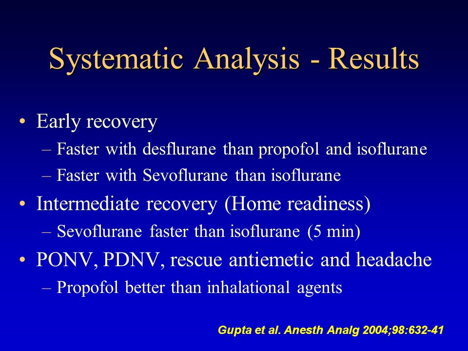 Systematic Analysis - Results Early recovery –Faster with desflurane than propofol and isoflurane –Faster with Sevoflurane than isoflurane Intermediat