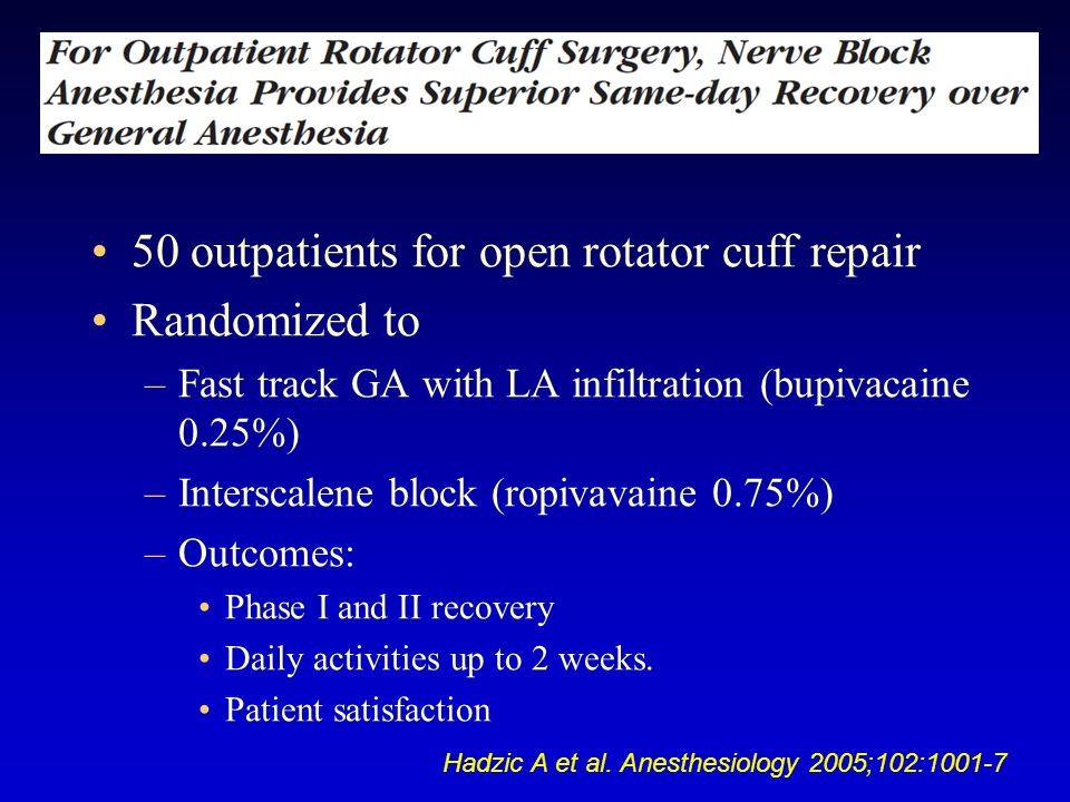 50 outpatients for open rotator cuff repair Randomized to –Fast track GA with LA infiltration (bupivacaine 0.25%) –Interscalene block (ropivavaine 0.7