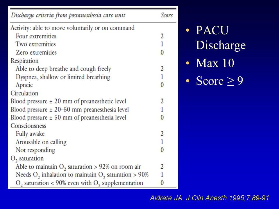 PACU Discharge Max 10 Score 9 Aldrete JA. J Clin Anesth 1995;7:89-91