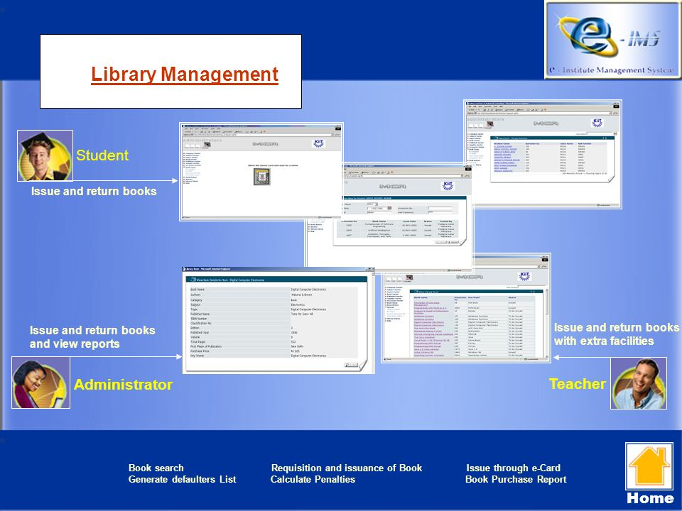Library Management Teacher Student Administrator Issue and return books Issue and return books and view reports Issue and return books with extra faci