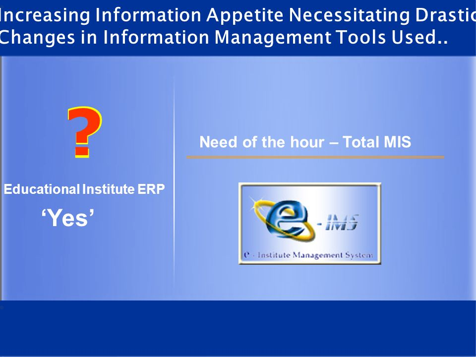 What is e -IMS e - IMS is a Web enabled ERP designed for educational / training institutions.