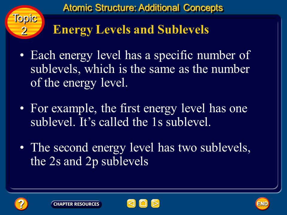 Energy Levels and Sublevels If electrons are distributed over one or more sublevels within an energy level, then these electrons would have only sligh