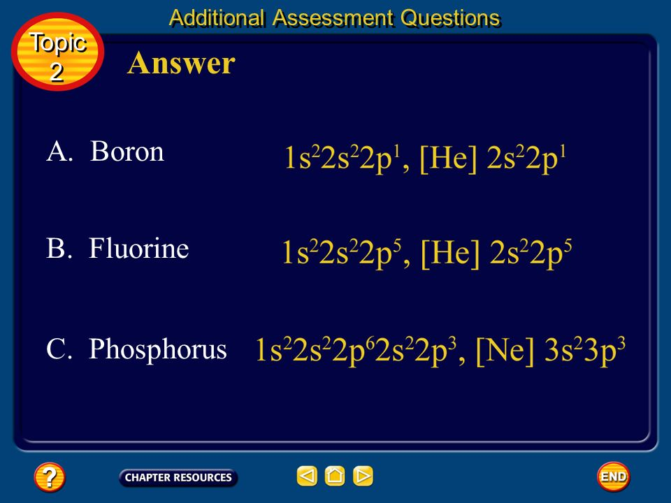 Additional Assessment Questions Write electron configurations and abbreviated electron configurations of the following elements. Question 1 A. Boron C