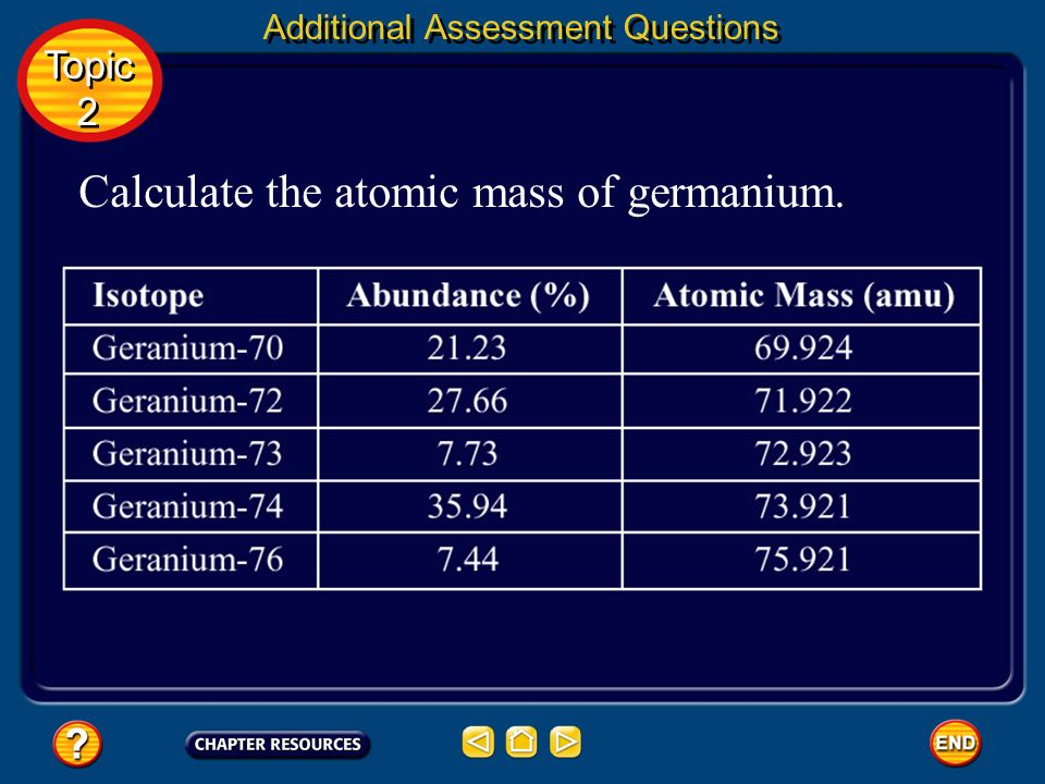 Question 2 The table on the next slide shows the five isotopes of germanium found in nature, the abundance of each isotope, and the atomic mass of eac