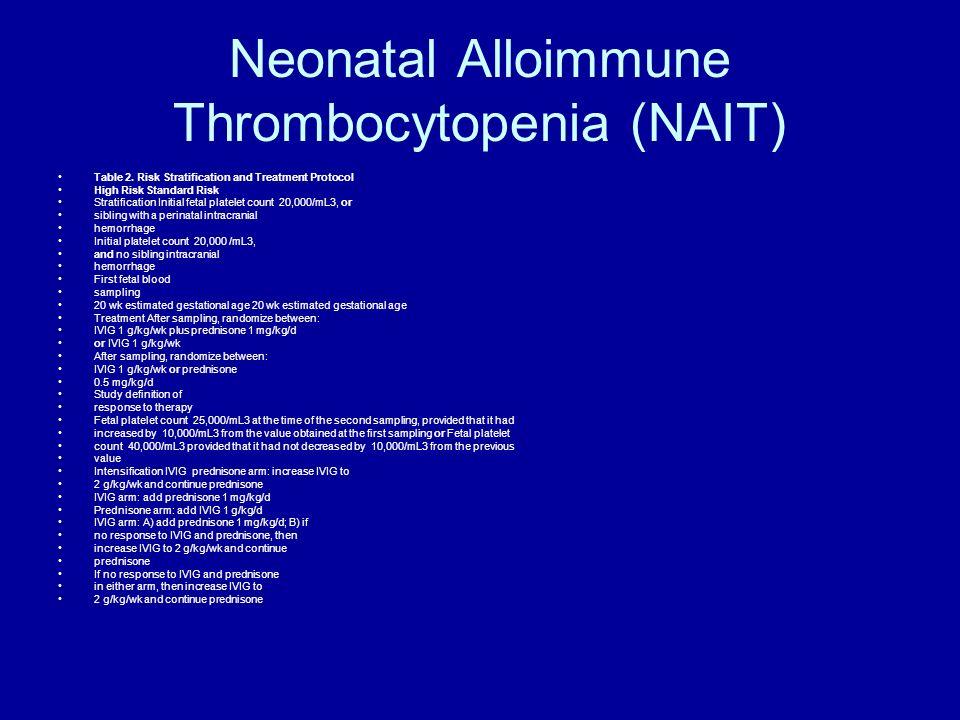Neonatal Alloimmune Thrombocytopenia (NAIT) Table 2. Risk Stratification and Treatment Protocol High Risk Standard Risk Stratification Initial fetal p