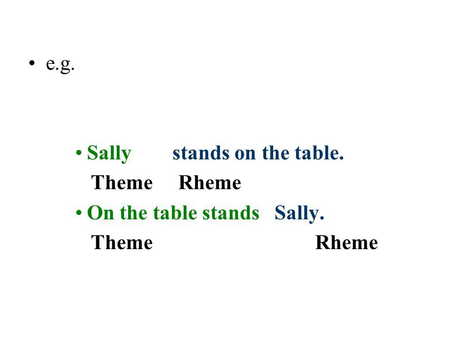 e.g. Sally stands on the table. Theme Rheme On the table stands Sally. Theme Rheme